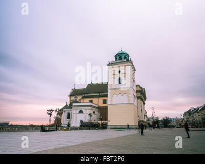 Saint Anna's church in the Old Town of Warsaw, Poland in the early evening at winter time. - Stock Photo