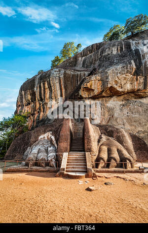 Lion paws pathway on Sigiriya rock, Sri Lanka - Stock Photo