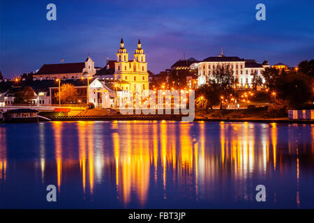 Evening view of Minsk cityscape - Stock Photo