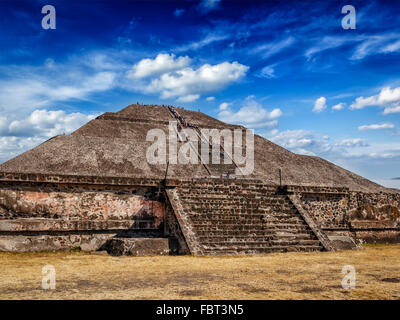 Pyramid of the Sun. Teotihuacan, Mexico - Stock Photo
