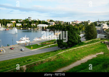 View of the harbor of Lappeenranta, from the fortress Linnoitus. Lappeenranta. South Karelia. Finland. Europe - Stock Photo