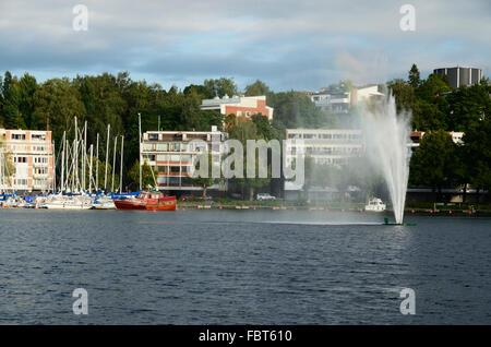 View of the harbor of Lappeenranta with the fountain. lake Saimaa. Lappeenranta. South Karelia. Finland. Europe - Stock Photo