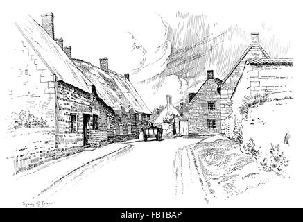 UK, England, Northamptonshire, Wilbarston, thatched cottages beside road through village in 1911, line illustration - Stock Photo