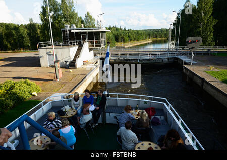 The Saimaa Canal is a transportation canal that connects lake Saimaa, Finland, with Russia. - Stock Photo