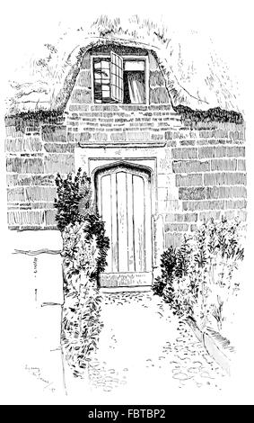 UK, England, Rutland, Caldecott, old thatched cottage arched door with small upper, floor window, in 1911, line - Stock Photo