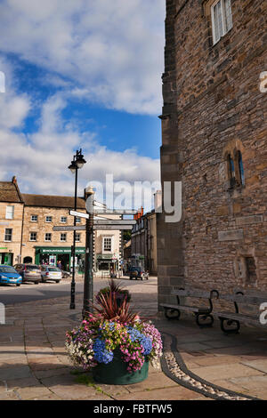 Richmond town square market place,  North Yorkshire, England - Stock Photo
