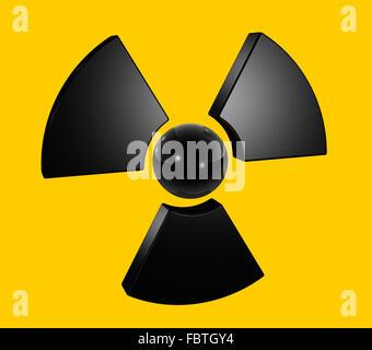 3D radioactive symbol - Stock Photo