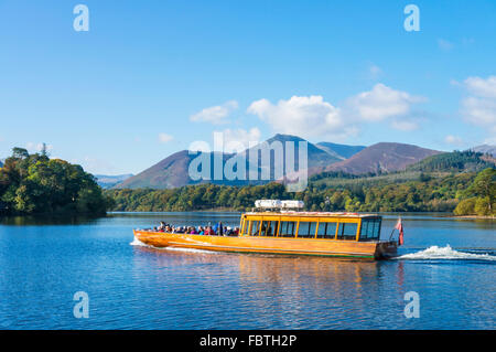 Motor ferry leaving the landing stages at Keswick Lake District national park Cumbria England UK GB EU Europe - Stock Photo