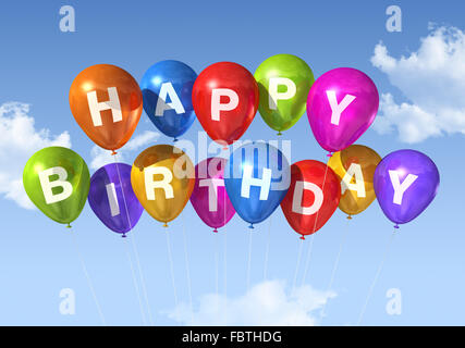 colored happy birthday balloons in the sky stock photo