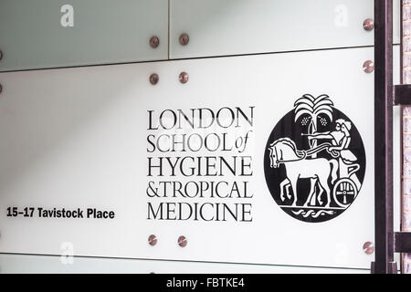 London School of Hygiene & Tropical medicine name sign, London, England, U.K. - Stock Photo