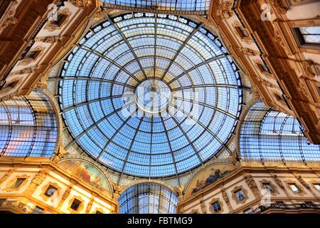 View of glass domed roof in Galleria Vittorio Emanuele II - Stock Photo