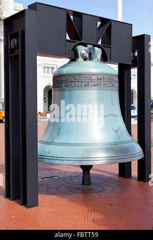 Replica freedom bell in front of Union Station - Stock Photo