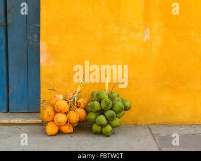Fresh coconuts in the street of Cartagena, Colombia - Stock Photo