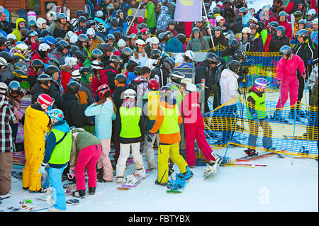 Crowd in queue for a ski lift in Bukovel. - Stock Photo