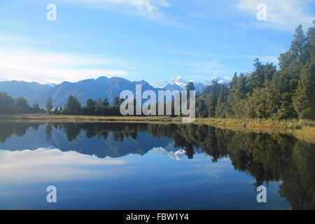 Lake Matheson, New Zealand - Stock Photo