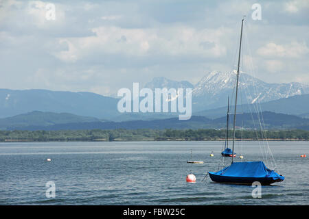 Sailboats on the Chiemsee - Stock Photo