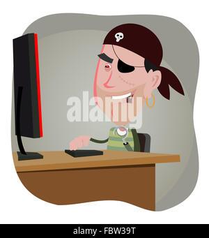 Cartoon Pirate Hacker - Stock Photo