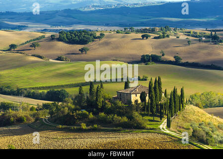 Plowed fields in the picturesque landscape of Italy. Tuscany landscape. - Stock Photo
