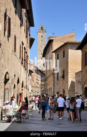via san giovanni, san gimignano, tuscany, italy - Stock Photo
