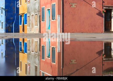 Colorful facades, Burano, Venetian Lagoon, Italy - Stock Photo