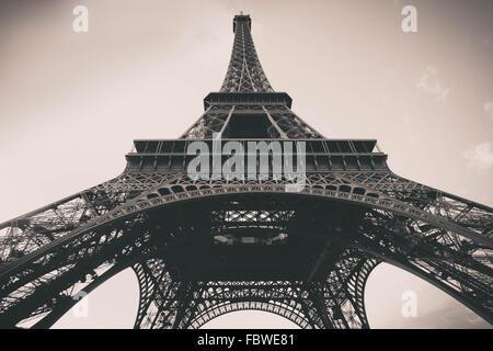 Vintage filter effect Eiffel Tower in Paris - Stock Photo