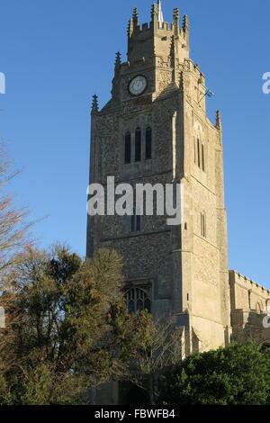 St. Andrew's church steeple - Stock Photo