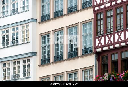 Frankfurt, R├╢mer, half-timbered house - Stock Photo