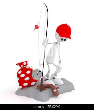 The 3D little man on fishing. - Stock Photo