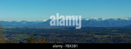 Panoramic view of the Bavarian Alps - Stock Photo