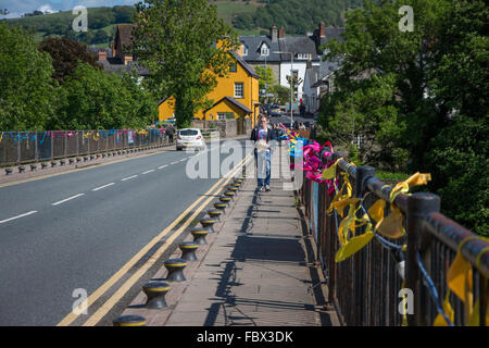 Coming into Hay-on-Wye, Wales during Literary Festival - Stock Photo