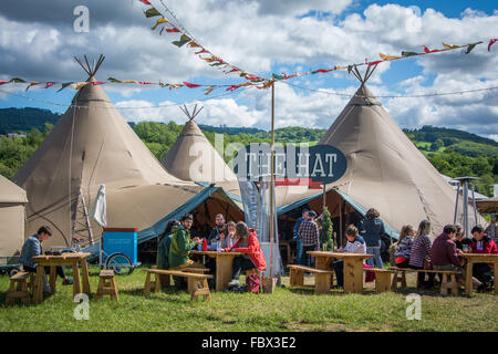 Food tents during Literary Festival in Hay-on-Wye, Wales - Stock Photo