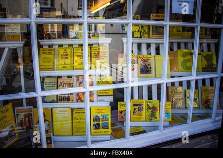 Bookshop window dressing in Hay-on-Wye, Wales - Stock Photo