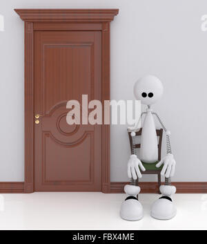 The 3D little man sits on a chair. - Stock Photo