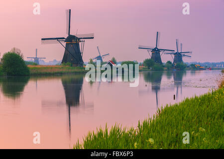 The famous windmills at the Kinderdijk, south Holland, Netherlands - Stock Photo