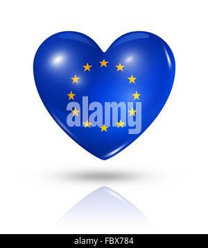 Love European union, heart flag icon - Stock Photo