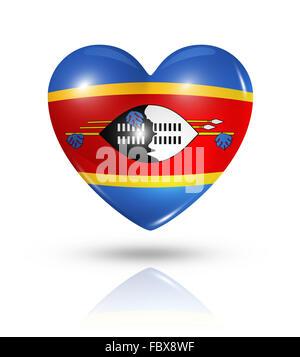 Love Swaziland, heart flag icon - Stock Photo