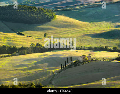 Tuscan landscape the national park of Val d'Orcia, a UNESCO heritage site - Stock Photo