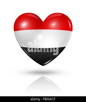 Love Yemen, heart flag icon - Stock Photo