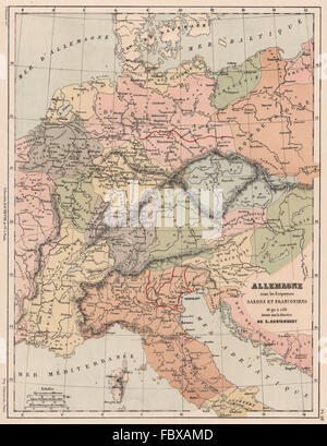 HOLY ROMAN EMPIRE. Germany under Saxon & Franconian Emperors 911-1138, 1880 map - Stock Photo