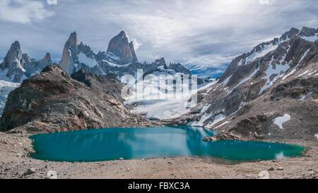Fitz Roy mountain and Laguna de los Tres, Patagonia, Argentina - Stock Photo