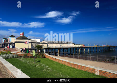 Summer, Teignmouth Pier, Beach and Promenade, English Riviera, Devon County, England, UK - Stock Photo
