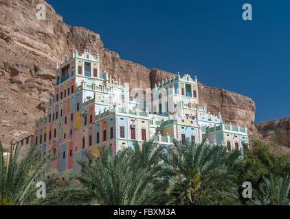 Kataira colorful hotel in Wadi Doan, Hadramaut, Yemen - Stock Photo
