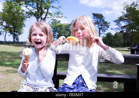 Sister day out with ice cream and lolly - Stock Photo