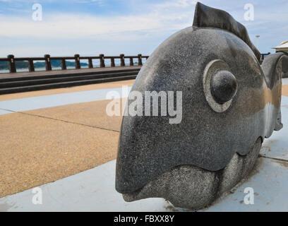 Kota Kinabalu, Sabah, Malaysia. Fish monument - Stock Photo