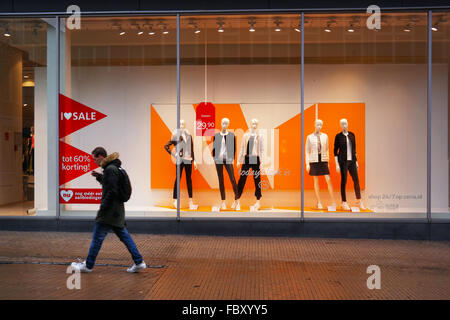 Shop window of a branch of C&A fashion clothing store, in Groningen - Stock Photo
