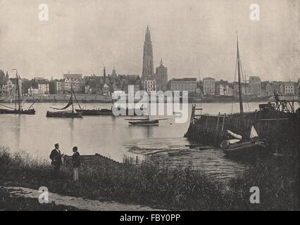 ANTWERP. View of river, showing cathedral on opposite bank. Belgium, 1895 - Stock Photo