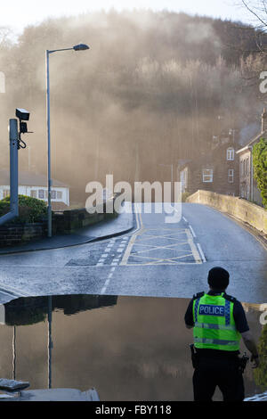 Flooding in Bingley, England, in December 2015. - Stock Photo