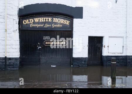 Flood damage in Bingley, England. - Stock Photo