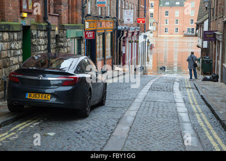 Extreme flooding in York City Centre during an extended period of adverse weather in December 2015. - Stock Photo