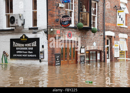 Extreme flooding in the centre of York during a period of adverse weather in December 2015. - Stock Photo